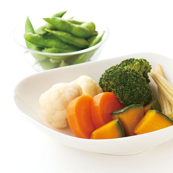 蒸し野菜と枝豆